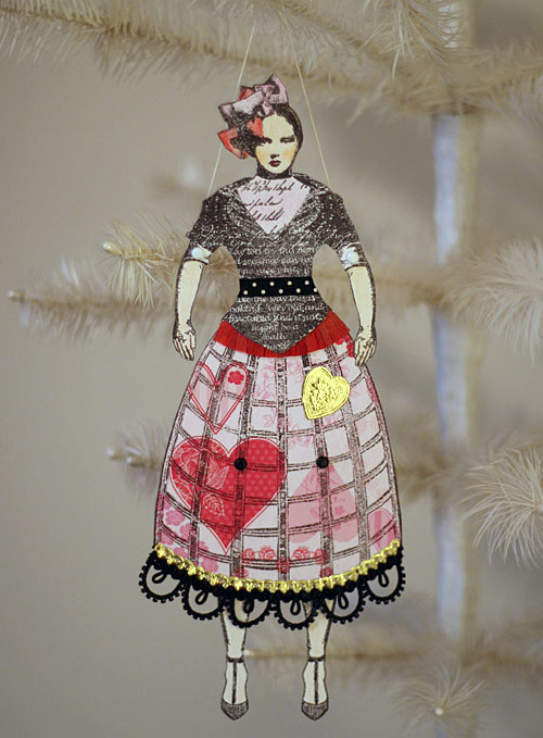 altered paper art doll