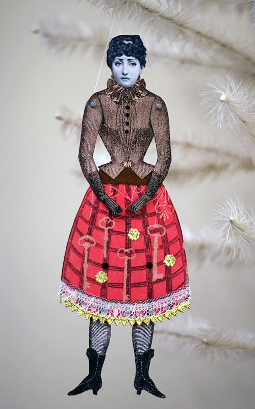 Victorian style altered paper art doll