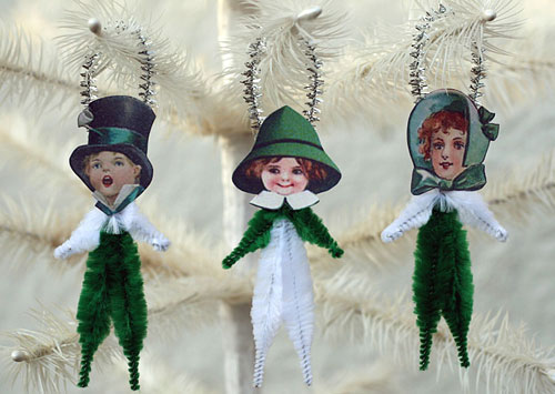 vintage style chenille St. Patrick's Day ornaments