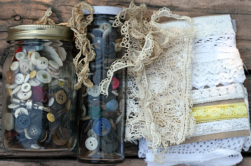 antique buttons and lace