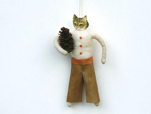 Cat ornaments primitive folk art by old world primitives for Cat christmas ornaments craft
