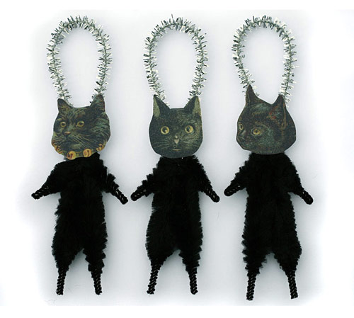 chenille black cat ornaments