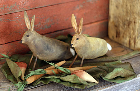 primitive bunnies in a cabbage leaf garden