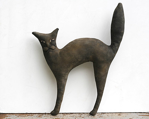 primitive folk art cat doll