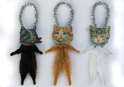 chenille cat ornaments for Christmas or everyday decorating
