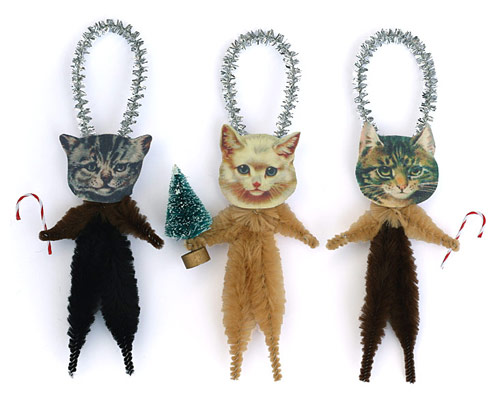 chenille Christmas cat ornaments
