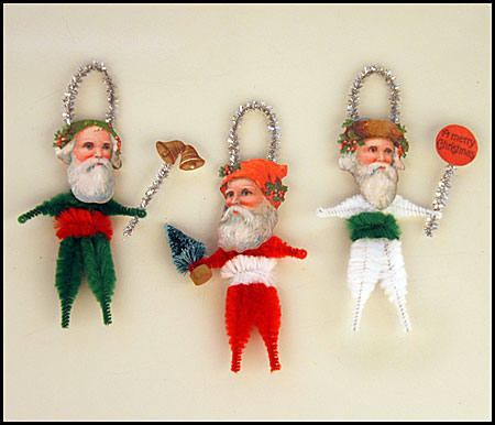 chenille Christmas folk art ornaments