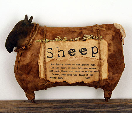 coffee stained primitive sheep