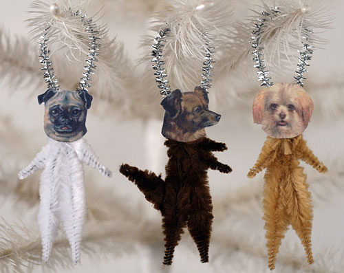 vintage style chenille dog ornaments - the set includes a pug dog and a terrier