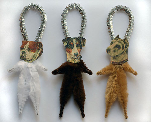 chenille dog ornaments for Christmas or everyday decorating