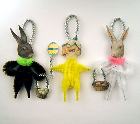 vintage style chenille Easter ornaments