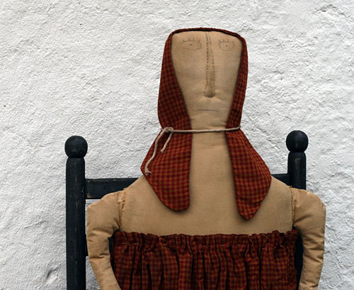 extreme primitive folk art pioneer doll