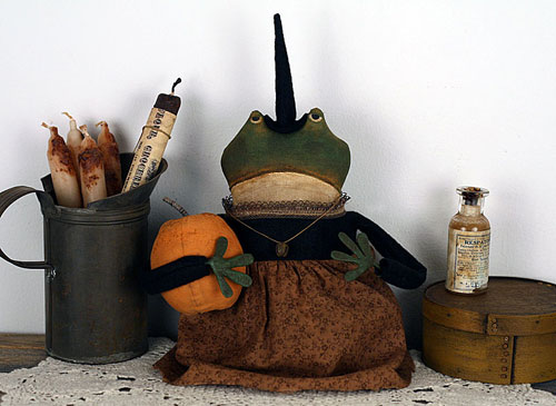 primitive folk art frogette doll