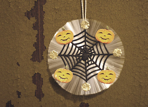 spun glass Halloween ornament