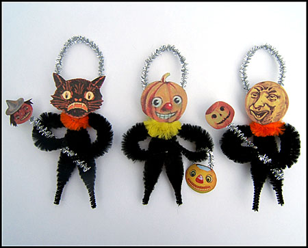 chenille Halloween folk art ornaments