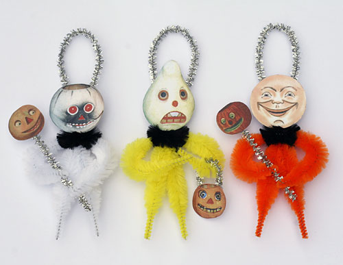 vintage style chenille Halloween ornaments