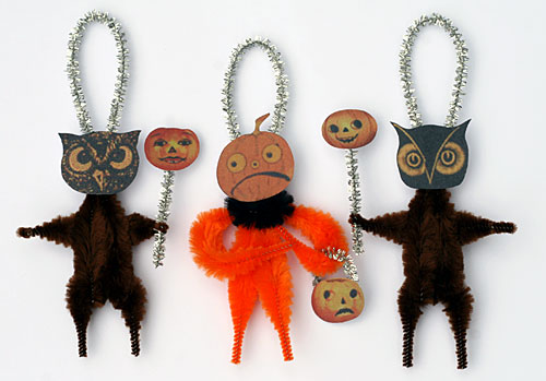 Halloween folk art chenille ornaments