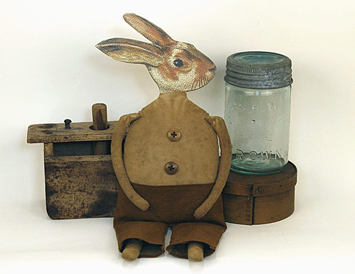 Horatio Hopkins, a handmade primitive folk art rabbit doll
