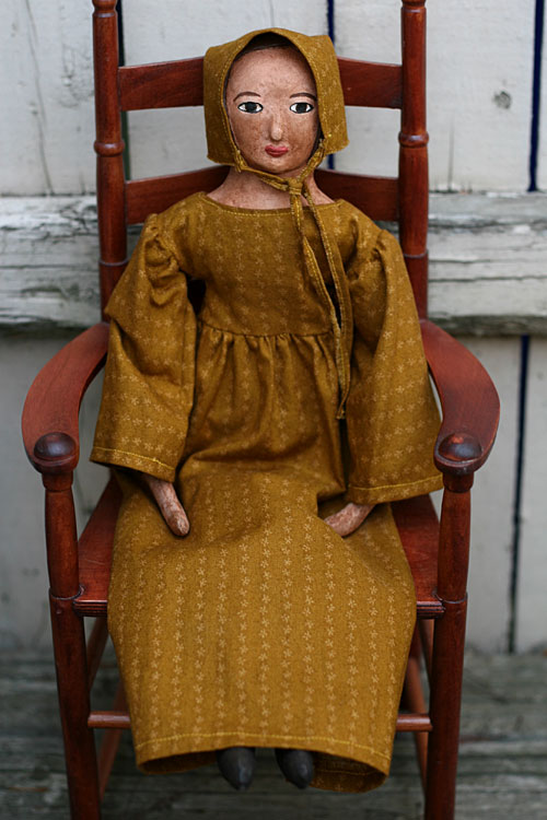 primitive folk art cloth and clay doll