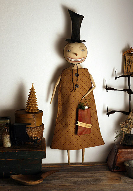 primitive snowman art doll