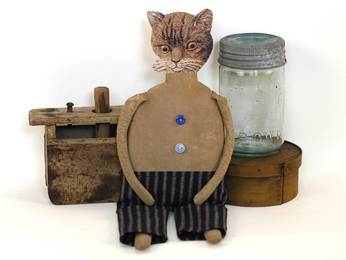 Roderick Cattingham, a handmade primitive folk art cat doll
