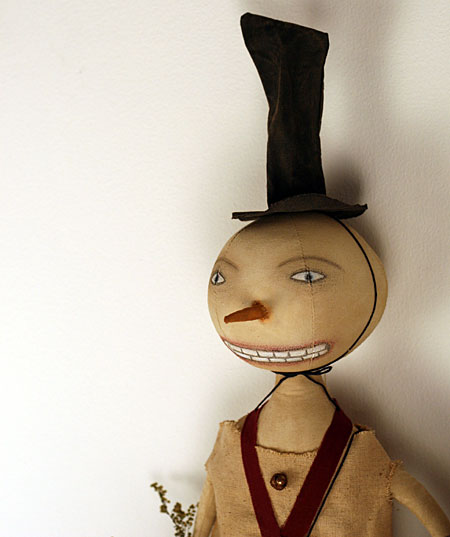 primitive folk art snowman doll