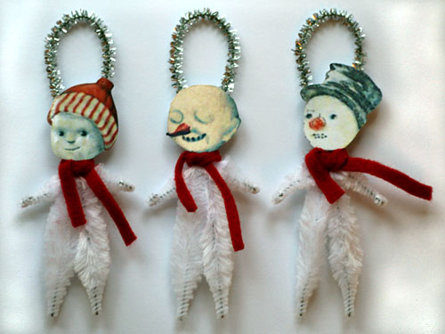 chenille snowman ornaments for Christmas