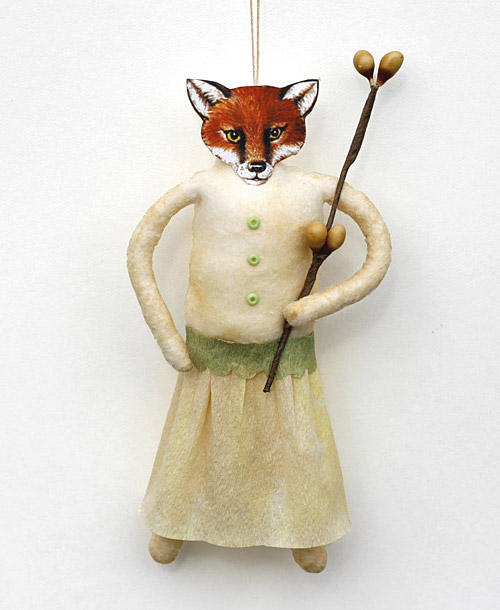 fox spun cotton ornament