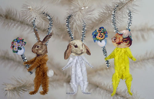 bunny and chick ornaments for Easter and spring