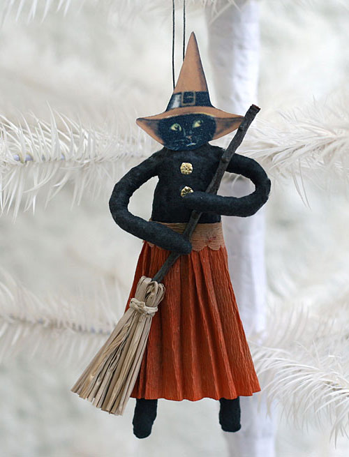 spun cotton black cat Halloween ornament