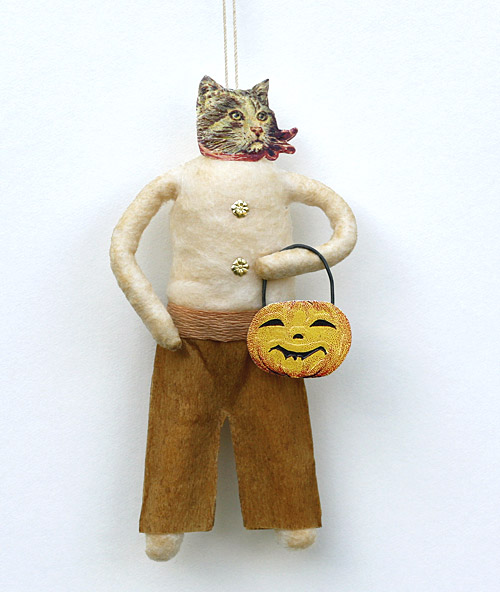 spun cotton cat ornament