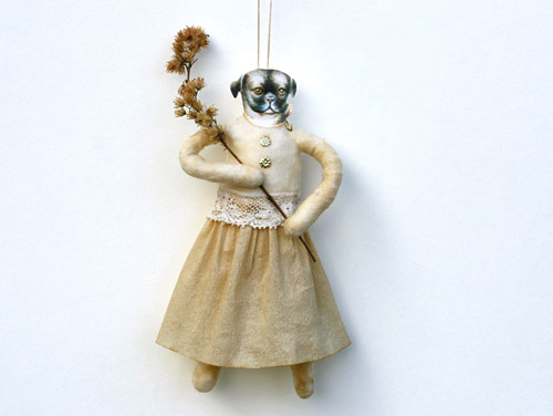 spun cotton dog ornament