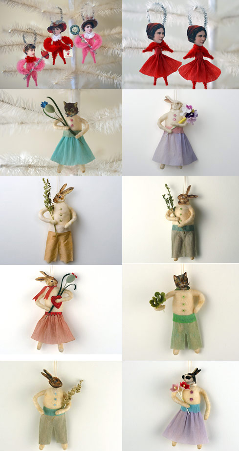original spun cotton ornaments by Stephanie Baker