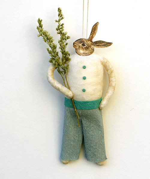 bunny rabbit spun cotton ornament