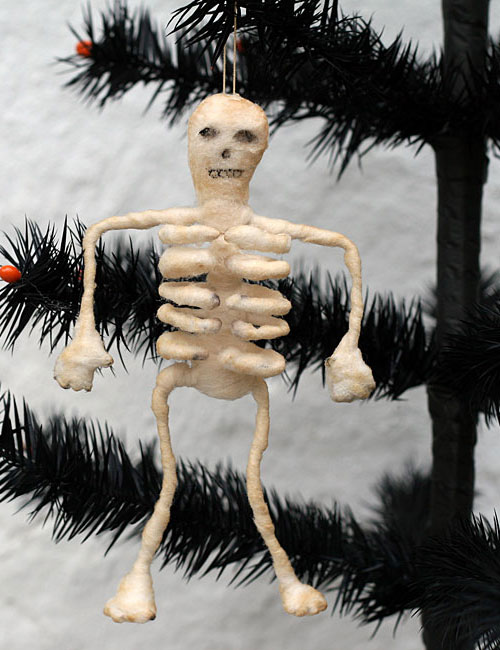 spun cotton skeleton Halloween ornament