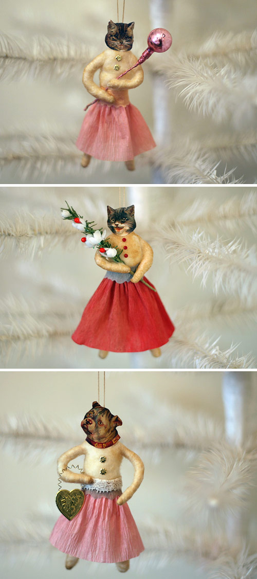 spun cotton cat and dog ornaments