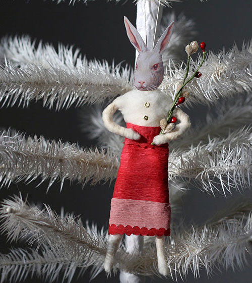 spun cotton rabbit ornament