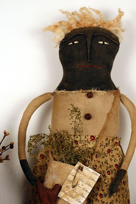 primitive Valentine's Day folk art doll