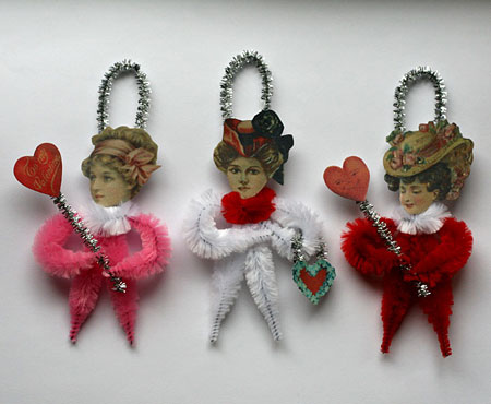 Victorian style Valentine's Day ornaments
