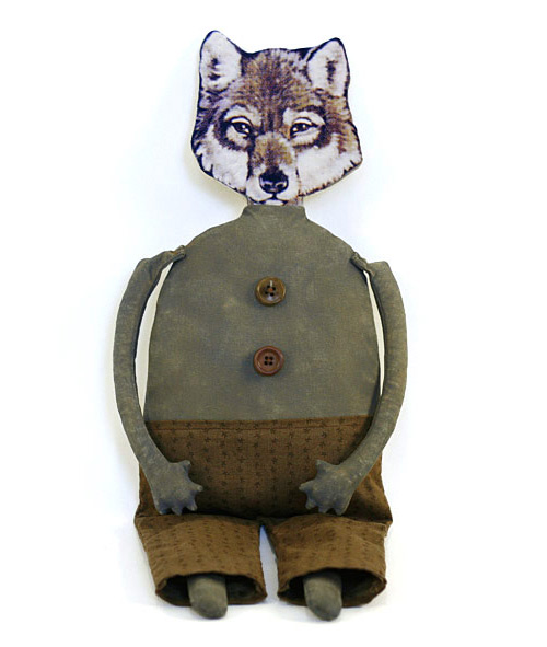 Wilfred Wolfinger, a handmade primitive folk art wolf doll