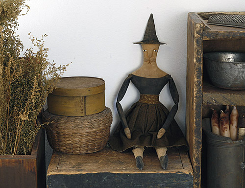 primitive folk art cat doll - Lilura the witch