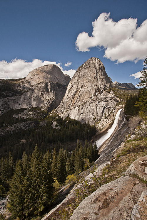 Liberty Cap and Nevada Falls in Yosemite National Park