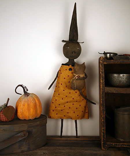 primitive folk art Halloween witch doll with cat