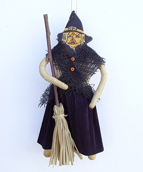 spun cotton witch ornament