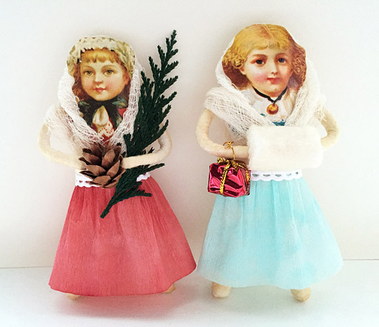 spun cotton Victorian girl ornaments